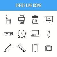 Unique Office Line icon set vector