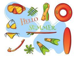Summer seaside leisure items Water sport cartoon style vector