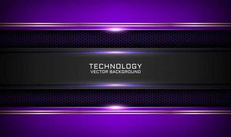 Abstract 3D purple techno background overlap layers on dark space with white light effect decoration. Modern graphic design template elements for flyer, card, cover, brochure, or landing page vector