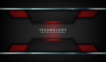 Abstract 3D black techno background overlap layers on dark space with red light effect decoration. Modern graphic design template elements for poster, flyer, cover, brochure, landing page, or banner vector