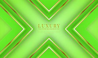 Abstract 3D green luxury background overlap layer on bright space with golden lines metallic decoration. Modern graphic design template elements for flyer, card, cover, brochure, or landing page vector