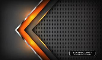 Abstract 3D grey techno background overlap layers on dark space with orange light effect decoration. Modern graphic design template elements for poster, flyer, card, cover, brochure, or landing page vector