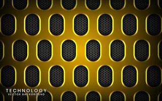Abstract 3D yellow technology background with shiny effect. Overlap layers on dark space with textured metallic oval patterns. Graphic design template elements for poster, flyer, brochure, or banner vector
