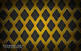 Abstract 3D yellow technology background with shiny effect. Overlap layers on dark space with textured metallic rhomb patterns. Graphic design template elements for poster, flyer, brochure, or banner vector