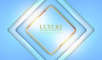 Abstract 3D blue luxury background with golden lines style. Overlap layers on bright space with glitter dots decoration. Modern graphic template elements for banner, poster, flyer, cover, or brochure vector