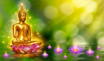 Buddha statue water lotus Buddha standing on lotus flower on orange background photo