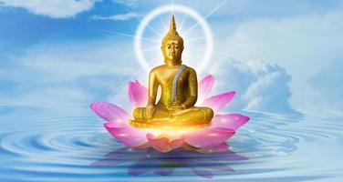 Buddha statue water lotus Buddha standing on lotus flower on background photo