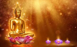 estatua de buda, agua, loto, buda, posición, en, flor de loto, en, fondo naranja foto
