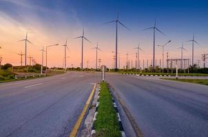 wind turbine energy  Green ecological power energy generation. Wind farm eco field Beautiful sky Hua Sai District Nakhon Si Thammarat Thailand photo