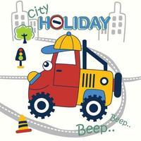 funny car holiday cartoon vector