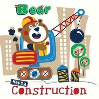 bear construction funny cartoon vector