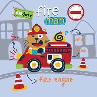 cat the fire rescue funny cartoon vector