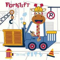 jirafa, el conductor de la carretilla elevadora, gracioso, animal, caricatura vector