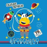 cow the astronaut funny animal cartoon vector