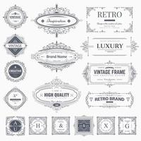 Vintage calligraphic ornaments and frames vector