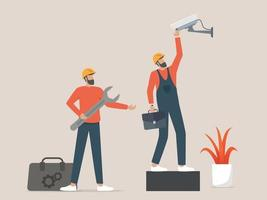 Two professionals workers installing cctv or surveillance cameras vector