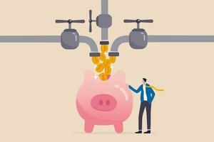 Multiple streams of income passive income or revenue vector