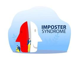 imposter syndrome, man trying on carnival masks with happy or sad expressions. vector