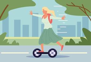 girl riding electric scooter vector