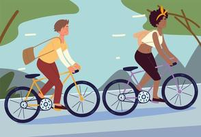 young people riding bicycles vector