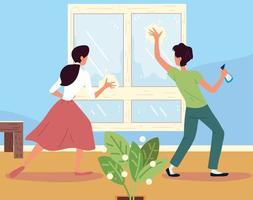 couple cleaning window vector