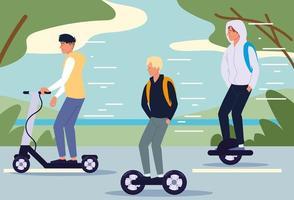 men riding electric transport vector
