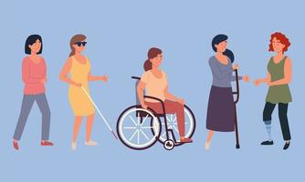 women disabled characters vector