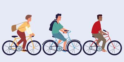 hombres montando bicicleta vector