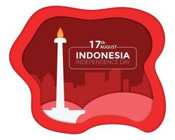 Indonesia Independence Day Monas Paper vector