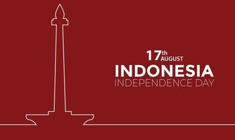 Indonesia Independence Day Monas Line Vector