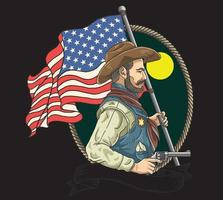 sheriff with american flag vector