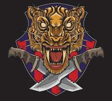 tigre militar con daga vector