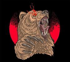 angry bear red eye vector