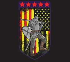 caballero con armadura completa bandera americana vector
