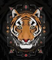 The Tiger head vector with ornament symbol. design template for logo, apparel and merchandise.