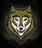 Wolf template logo design vector