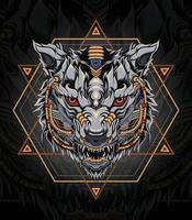 Mecha Wolf logo with Sacred Geometry Perfect for t shirt, apparel, merchandise, pin design, etc vector
