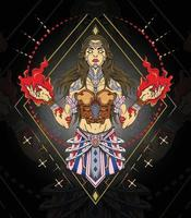 Beautiful witch lady with flame on the hand vector