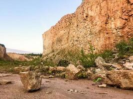 Spectacular limestone canyon walls in Lithaunia countryside photo