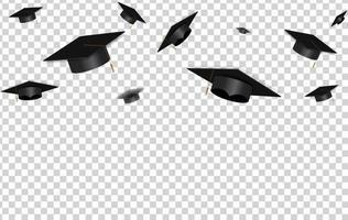 Education Concept Background. Graduation caps and confetti. vector illustration