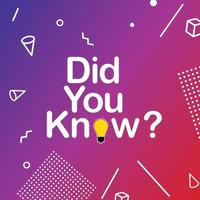 Did you know interesting fact background vector