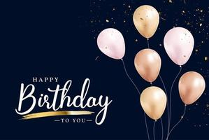 Happy Birthday congratulations banner design with Confett and Glossy Glitter Ribbon for Party Holiday Background vector