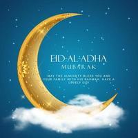 Eid Al Adha. Eid mubarak islamic greeting card poster vector
