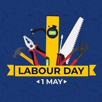 1 May Happy labour day background with working tools. Vector illustration