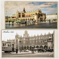 Krakow, Poland, Feb 15, 2018 - Rynek Glowny during WW2 and now postcards photo