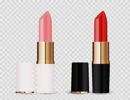 Realistic 3D light pink and red lipstick icon isolated on transparent background. Vector Illustration
