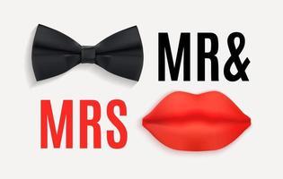 señor. y la sra. cartel con pajarita negra y labios rojos. 3d ilustración vectorial eps10 vector
