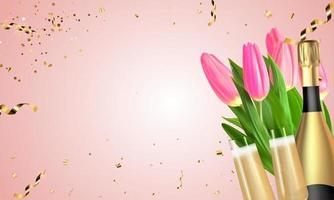 Realistic 3D Tulips, champagne Golden Bottle and Glasses on Pink background. Vector Illustration