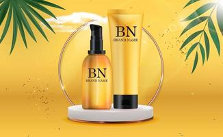 3D Realistic sun Protection Cream Bottle on pedestal and Sunny Yellow Background with palm leaves. Design Template of Fashion Cosmetics Product. Vector Illustration
