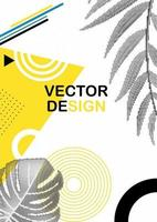 Abstract Geometric Trendy Background with Halftones Palm Leaves. Vector Illustration EPS10